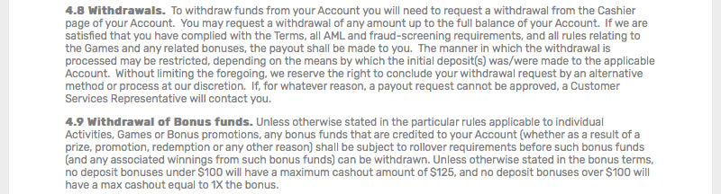 bovada review of rollover policy