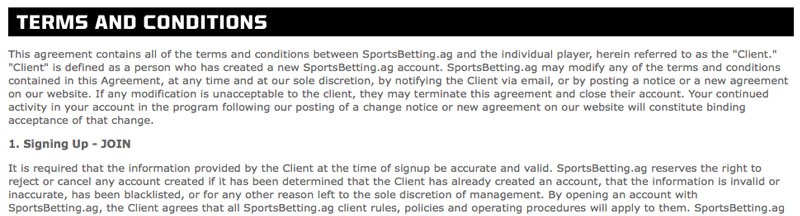 sportsbetting.ag house rules overview