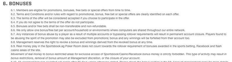 sportsbook.ag review of rollover policy