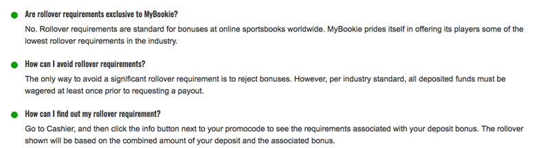 mybookie review of rollover policy