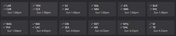 DraftKings NFL Week One Schedule