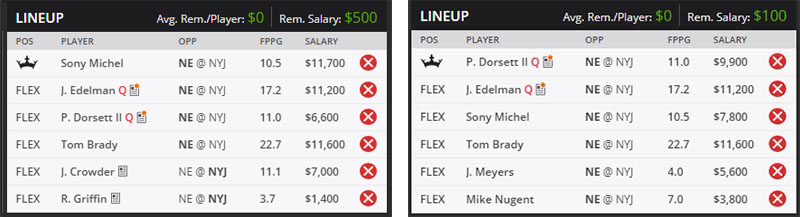 draftkings week 7 monday night lineup