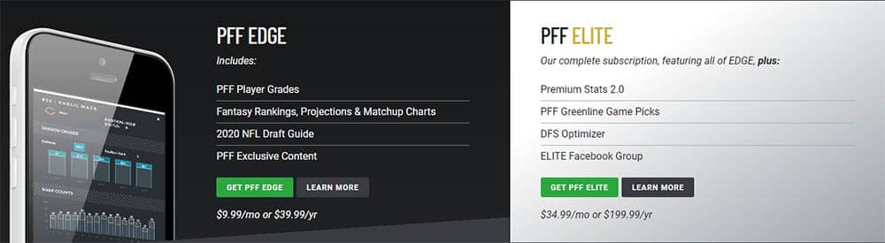 pro football focus membership options