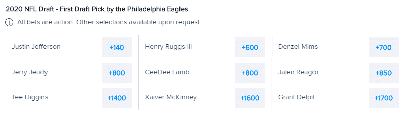 eagles first round pick odds