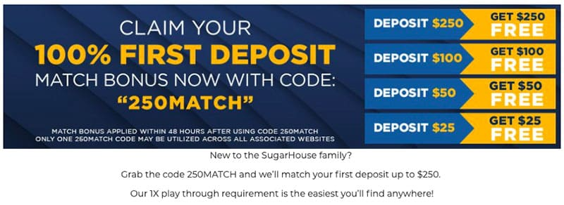 current 100% deposit match promo code offer from sugar house