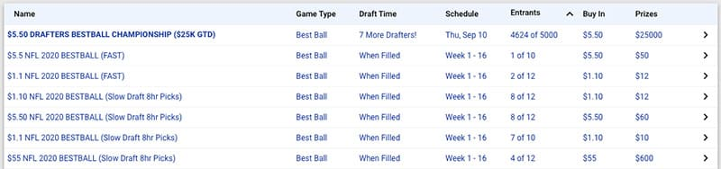 free draft best ball contests