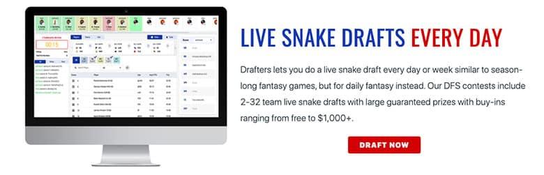 drafters live snake draft entry with promo code