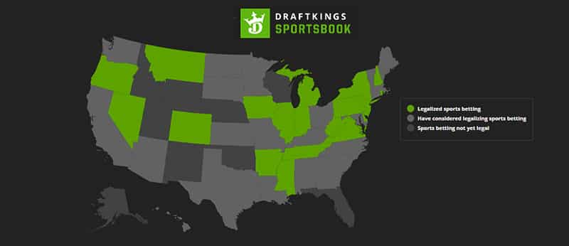 Legal DraftKings Sports Betting States as of November