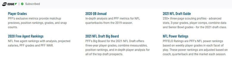 current pff tools for 2020-2021 nfl season